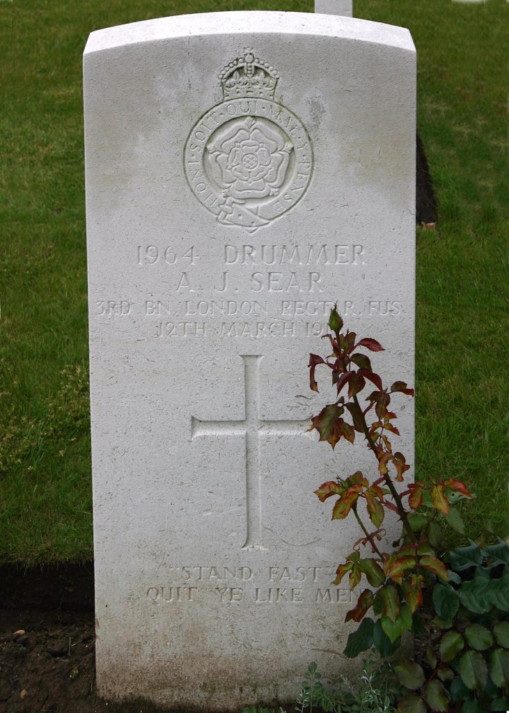 Arthur James Sear Grave at Lillers Communal Cemetery