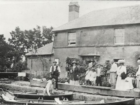 H W Anderson's skiff at Buckleys Lock, Semington, in 1912. Photograph displayed with permission from the Kennet & Avon Canal Trust Archive, © Jack Dalby collection.