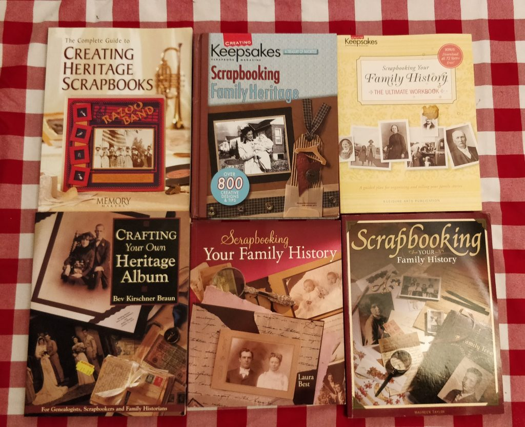My growing collection of scrapbooking books
